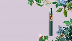 Vape surrounded by illustrated plants.
