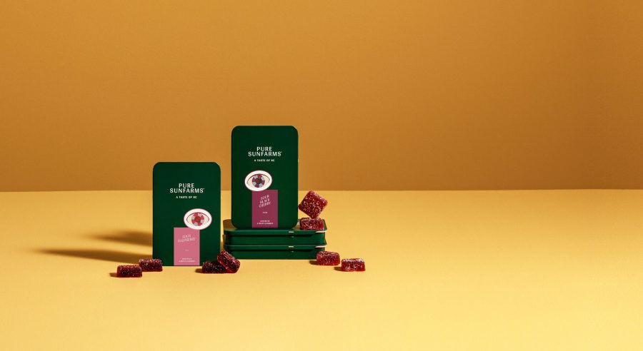 raspberry and cherry gummies with green concept packaging tins on yellow background