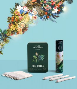 concept packaging tin and roll with pre-rolls in front and floral illustrations in the background